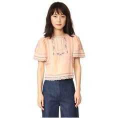 Rebecca Taylor Esme Embroidered Top ($295) ❤ liked on Polyvore featuring tops, blouses, ballet combo, short puff sleeve blouse, puff sleeve blouse, keyhole top, short tops and embroidered cotton blouse