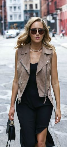 black slip midi dress, taupe suede moto vest, black handbag, sunglasses + layered gold necklaces {ann taylor, reiss, m2malletier, smoke x mirrors}
