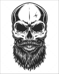 Monochrome Illustration of Skull by imogi Monochrome illustration of hipster skull with mustache and beard. Isolated on white background