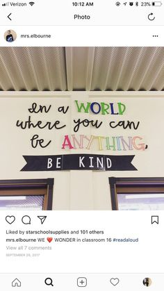 In a world where you can be anything, be kind. School Library Decoration.