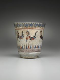 Goblet late 12th–early 13th century Mina'i ware; fritware with polychrome enamels on an opaque white glaze.Culture: Persian, Iranian, Islamic, probably Kashan Period: Seljuk dynasty (1038–1194) or their successors Classification: Containers - Ceramic - See more at: http://artgallery.yale.edu/collections/objects/goblet-9#sthash.WGkujUYR.dpuf