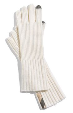 Burberry Ribbed Cashmere Gloves - with tech tips on the index finger and thumb to allow for touch-screen manipulation. fancy