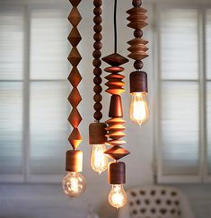 Bright Beads Wood Pendant Lamps