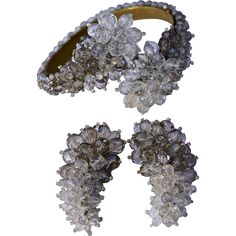 An important early 1940's Coppola e Toppo Ornate Silver Tone Crystal Armband Cuff and Earring Set