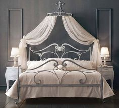 Wrought Iron Bed and Bed Heads Canopy Wrought Iron Beds, Wrought Iron Decor, Iron Furniture, Bedroom Furniture, Bedroom Decor, Bed Crown, Double Beds, Dream Bedroom, House Design