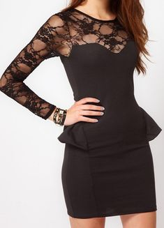 Black Lace Long Sleeve Sheer Bodycon Dress