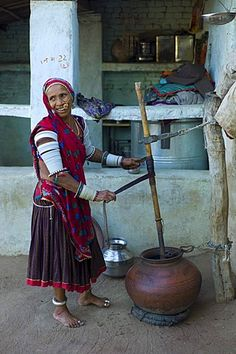 Indian woman making buttermilk at home in Narlai village in Rajasthan, Northern India - Stock Image Raja Ravi Varma, How To Make Buttermilk, Simplicity Is Beauty, Bollywood Posters, Amazing India, May Arts, India Culture, India And Pakistan, India Art