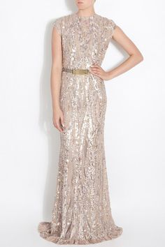 Elie Saab Light Taupe Fully Sequined Wedding Dress on Nearly Newlywed