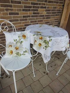 Linen tablecloth and pillow case by shabby.romantic / Ľanový obrus White Marguerite