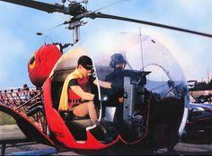 """Batman and Robin, played by Adam West and Burt Ward, in their funky """"Bat-copter"""", . Batman 1966, Im Batman, Batman Art, Batman Robin, Batman Stuff, Adam West Batman, Batman Tv Show, Batman Tv Series, Batgirl"""