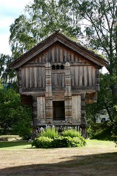Wooden barn. A traditionally styled wooden barn built on pillars.