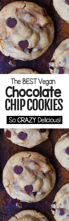 The BEST vegan chocolate chip cookie recipe using basic ingredients GF Cookie Vegan Chocolate Chip Cookie Recipe, Chocolate Chip Cookies Ingredients, Best Vegan Chocolate, Chocolate Recipes, Cookies Vegan, Baking Chocolate, Chocolate Truffles, Chocolate Chips, Easy Chocolate Chip Cookies
