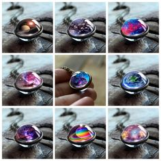 New Nebula Galaxy Double Sided Pendant Necklace for Women. #jewelry #PendantNecklaceforWomen