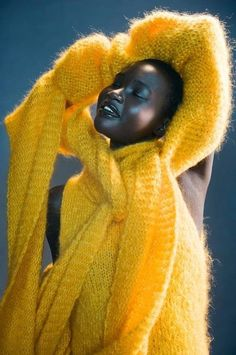 Yellow never looked so good(Ataui Deng, Sudanese model)