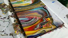 4-cup Acrylic Pour - Awesome Colors and Cells!