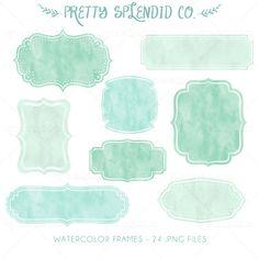 Watercolor Frames  Labels  Clip Art  Instant by PrettySplendidCo, $4.99