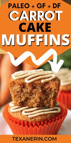 These paleo carrot cake muffins are super moist, lightly sweetened with honey and even a little fluffy! These grain-free and gluten-free healthier car Easy Carrot Cake, Gluten Free Carrot Cake, Carrot Cake Muffins, Healthy Carrot Cakes, Carrot Cake Cupcakes, Paleo Dessert, Dessert Recipes, Paleo Muffin Recipes, Healthy Recipes