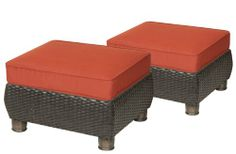 Save $ 10 order now Breckenridge Patio Ottomans (2 Piece Set, Brick Red) by La-Z