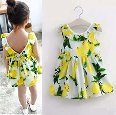 Diy Crafts - GirlStyle,ChicBaby-Dress For Girls Baby Clothes Toddler Baby Girl Dress Lemon Flower Bow Ball Prom Dress Baby Girl Clothes GirlDress Gi Kids Summer Dresses, Dresses Kids Girl, Children Dress, Children Clothes, Dress Summer, Kids Clothing, Dresses For Babies, Summer Sundresses, Clothing Stores