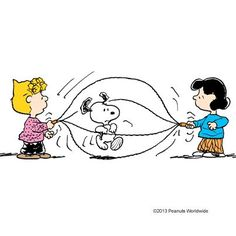 'Jumping rope', Snoopy, Lucy Van Pelt, and Sally Brown.