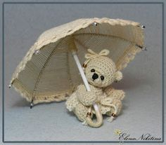 crochet bear and umbrella...no instructions, just wonderful pictures