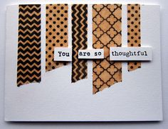 Make your own washi tape using kraft tissue, scor-tape and your favorite background stamps.
