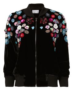 Tanya Taylor Embellished Velvet Bomber Jacket: The cool bomber jacket styled in an embellished velvet makes for a must-have. Center zip closure. Two pockets. Lined. In black. Fabric: 82% rayon/18% silk Lining: 100% polyester Imported. Model Measurements: Height 5'8.5 ; Waist 24 ; Bust 33 wearing size ...