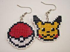 plastic canvas pokemon earrings
