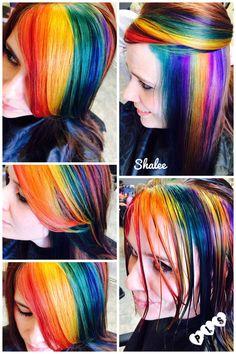 Rainbow haircolor|blue yellow green red pink orange purple hair| pravana hair color| fun hair 2014| color trends, ideas|summer| Park Lane Salon, COLORADO
