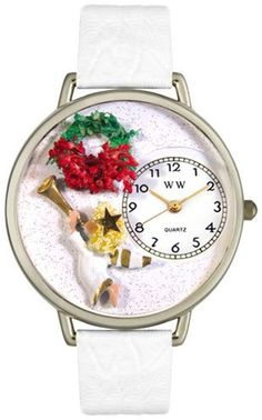 Whimsical Watches Unisex Christmas Angel Watch in Silver Watch U1220006. The Christmas angel rejoices with her trumpet on our Christmas Angel watch. Accented with a bright red and green wreath, this angelic design makes a perfect holiday gift.. Price: $44.95