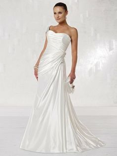 Charmeuse One-shoulder Sweetheart A-line Wedding Dress