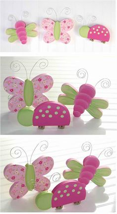 GIRLS CUSTOM BUTTERFLY, LADYBUG, FLOWER & DRAGONFLY HAND PAINTED WALL PEGS