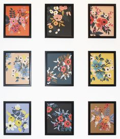 Framed floral illustrations from the 2015 Rifle Paper Co. Les Fleurs Calendar
