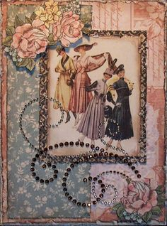 Graphic 45 ladies diary, base paper distressed and inked, blue paper distressed and inked, centre panel, fuss cut 2 lots of roses, diamanté swirl
