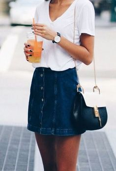 I love this denim skirt spring outfit!