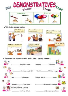 Two pages where sts can practise demonstrative adjectives and pronouns. Grammar: Pronouns: THIS, THAT, THESE, THOSE (demonstratives); English Grammar Worksheets, Grammar Lessons, English Vocabulary, Grammar Practice, Pronoun Activities, English Activities, English Primary School, English Classroom, German Language Learning