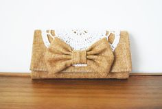 Upcycled Tan Wool Trifold Clutch Wallet with by Singsthesparrow