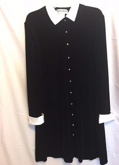 Ronnie Nicole  Black Velvet Poly Dress Size 12 Dress White Satin Collar Cuff But #RonnieNicole #Dress #DaughterMotherDressThisistheMotherDress
