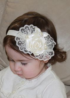 Ivory Cream Boutique Flower Rose Bow with Lace and Pearl Accents on Elastic Headband Photo Prop. $13.99, via Etsy.