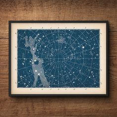 This is a delightful print of a constellation map that restored from a rare astronomy textbook. It has a rich blue background, which Ive antiqued with a delicate patina. I just love how it instantly adds vintage charm to any room. Printed on archival museum-quality paper, you can this buy framed or unframed.  SEE MORE ❤ Astronomy & navigation: http://etsy.me/2isMmTm ❤ Starfishes & seashells: http://etsy.me/2iOysMX ❤ Fish & sea animals: http:/&#x...