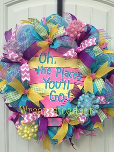 Dr Seuss themed mesh wreath for teacher! www.facebook.com/wreathstoadoor