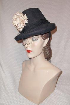 30s 40s Vintage Navy Blue Tilt Hat with Light by MyVintageHatShop