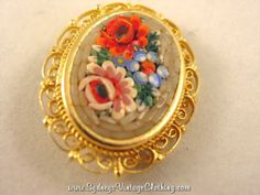 Vintage Italian Mosaic Micro Bear Rose Flower Jewelry Brooch Pin