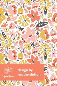 Betty - Floral Pink Blush by heatherdutton - A fresh & modern floral in pretty shades of pink & gold. Bold vintage toned floral illustration on fabric, wallpaper, and gift wrap. This beautiful mod floral is perfect for wallpapering a kitchen or powder room, or for making bold throw pillows. Click to see more beautiful floral illustrations by this indie designer. #illustration #draw #floral #flowers #mod #wallpaper #fabric #vintage