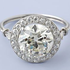 Antique Art Deco Style 2.94ct European-cut Diamond Engagement Ring - in yellow gold