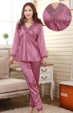Sleepwear female silk long-sleeve set summer women's plus size spring and autumn lovers sexy pajama sets summer lounge > Nice plus size clothing shop for everybody