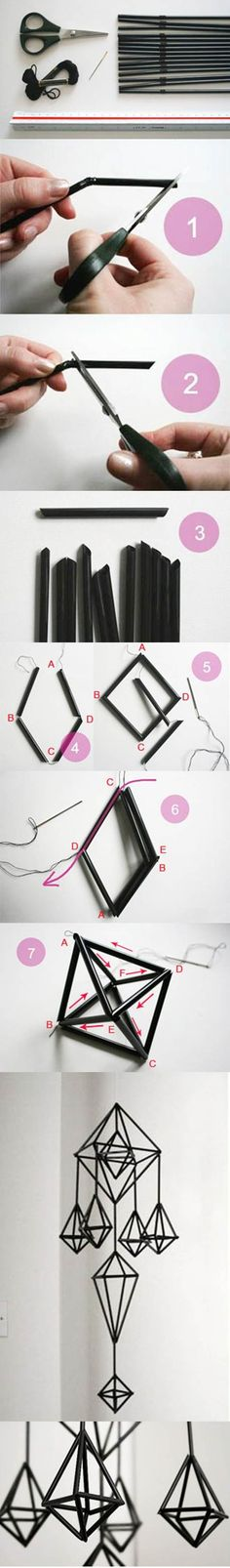 DIY Unique Hanging Decorations from Straws diy crafts craft ideas easy crafts diy ideas diy idea diy home easy diy for the home crafty decor home ideas diy decorations diy hanging decor