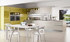 Colorful Kitchen Designs With Gloss Yellow And Light Gray With Wood Patterns Modern L-Shaped Kitchen Design With Cozy Minimalist White Dinin...