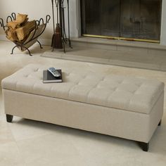 Christopher Knight Home Mission Beige Tufted Fabric Storage Ottoman Bench    Overstock™ Shopping   Great
