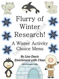 A Flurry of Winter Research! Menu with 8 Activities for Gifted/Enrichment from Enrichment with Class on TeachersNotebook.com -  (19 pages)  - Want differentiation made easy? Try an activity menu! This 19 page menu packet includes 3 levels of difficulty and multiple intelligences/learning styles. All the forms you need are included for all 8 activities! Ready-to-go for GT/enrichment.